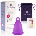 CarrieCup Menstruationstasse klein, Made in Germany - BPA-frei, Alternative zu Tampons und Binden, silikonfrei - inkl. Beutel Lila